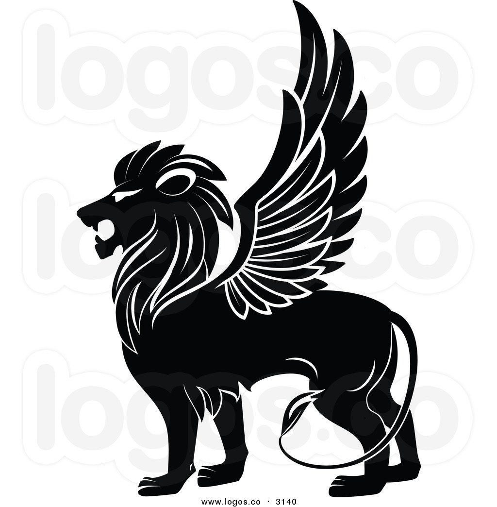 Royalty-free-vector-of-a-black-winged-lion-logo-by-seamartini-graphics-media-3140
